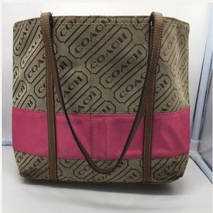 COACH Carly Slim pink & brown jacquard canvas tote
